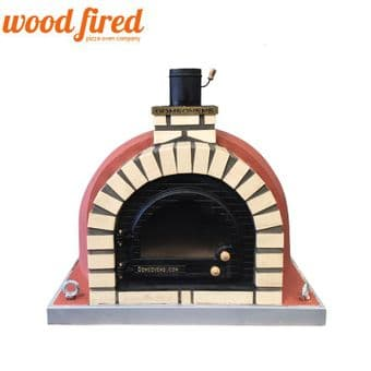 BRICK RED TUDOR WOOD FIRED PIZZA OVEN,CAST IRON GLASS DOOR,DOUBLE INSULATION 100CM