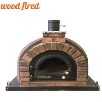 BROWN TUDOR WOOD FIRED PIZZA OVEN WITH CAST IRON GLASS DOOR AND DOUBLE INSULATION 130CM