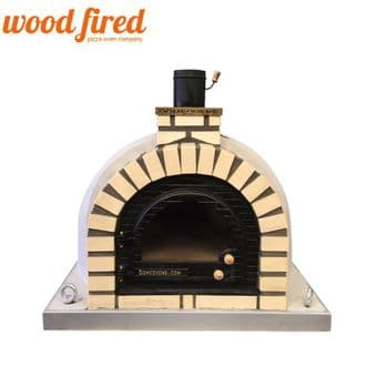 GREY TUDOR WOOD FIRED PIZZA OVEN,CAST IRON GLASS DOOR,DOUBLE INSULATION 100CM