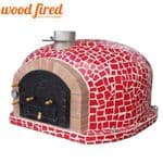 SUPERIOR RED MOSAIC WOOD FIRED PIZZA OVEN WITH CAST IRON FLUE AND MOSAIC TILES