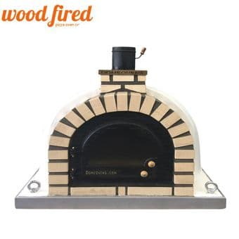 TUDOR CREAM WOOD FIRED PIZZA OVEN WITH CAST IRON GLASS DOOR AND DOUBLE INSULATION 100CM