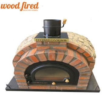 TUDOR WOOD FIRED PIZZA OVEN ROCK WITH CAST IRON GLASS DOOR AND DOUBLE INSULATION 100CM X 100CM