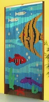 Chain Link Door Fly Curtain - Tropical Fish Pattern