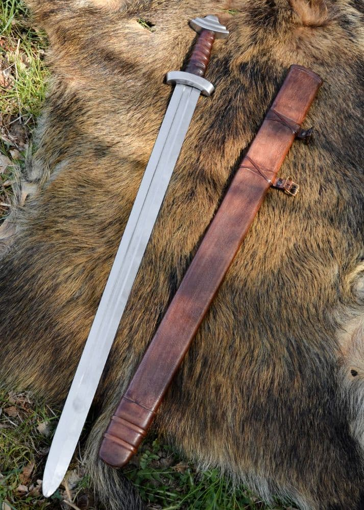 11th C Viking Sword, Blunt SK-B with Leather Scabbard, Battle Re-enactment