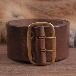 Brown Leather Belt With Brass Buckle approx. 135cm