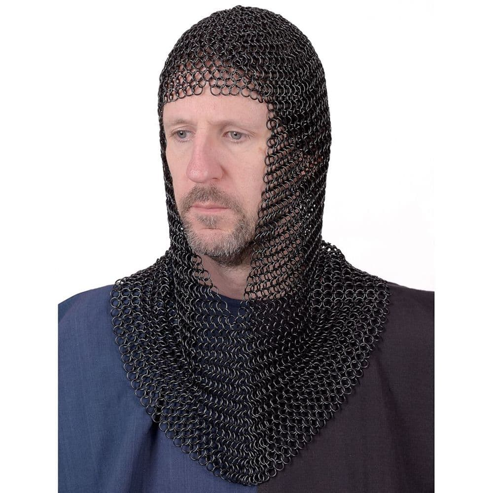 Chain Mail Coif  Butted Mild Steel, 9mm I.D. Zinc Plated or Blackened Finish