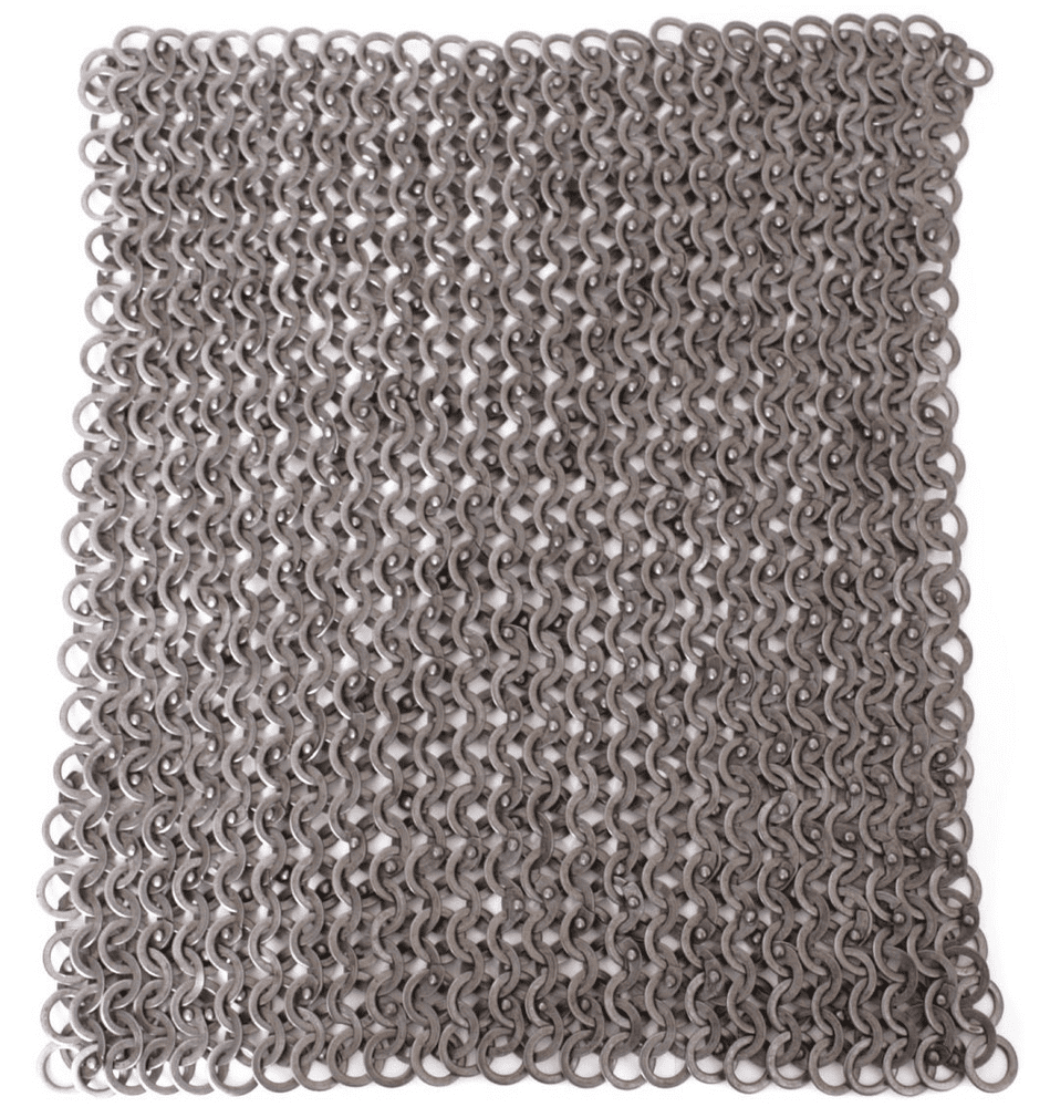 Chain Mail Square Piece, 20 X 20cm Flat Ring Round Rivet Heads Mixed (FRM), I.D 8mm