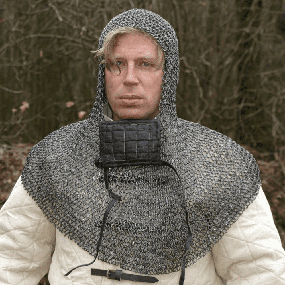 Chainmail Coif With Square Ventail,Riveted Round Rings, 8mm I.D