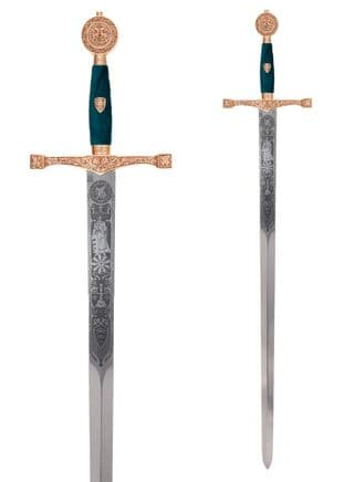 Excalibur Sword- Gold Finish- Red Contrasts