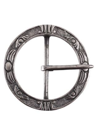 Large Medieval Belt Buckle, Round, Nickel Plated Brass
