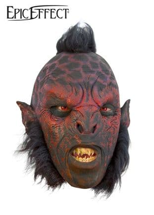 Larp Orc Latex Mask Red With Hair , also for Halloween and Fancy Dress