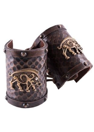 Leather Wrist Guard with Celtic Wild Boar Motif (pair)