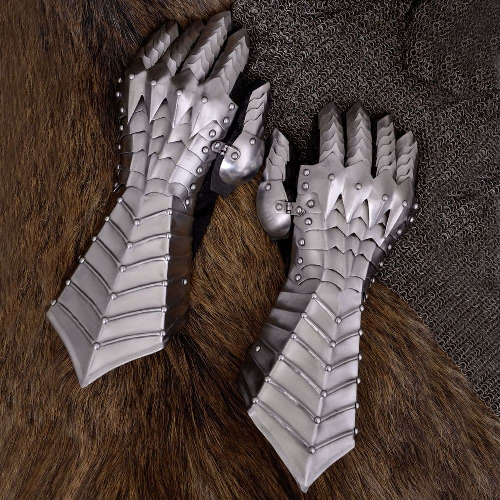 Medieval Gauntlets Riveted and Stitched