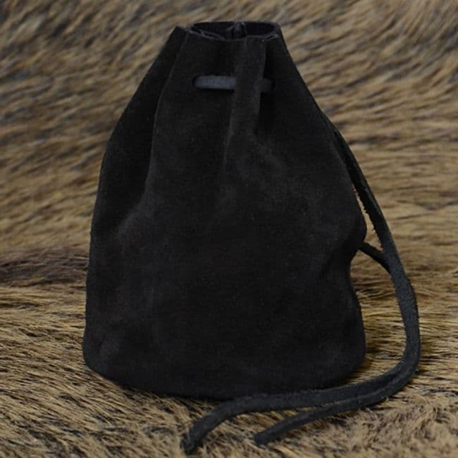 Medieval Leather Pouch, Suede, Black