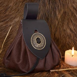Medieval Money Pouch,Large Metal Closure, Leather