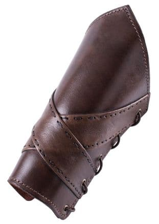 Padded Leather Bracers with Cross Banding (Pair)