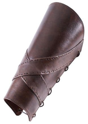 Padded Leather Greaves with Cross Banding (Pair)