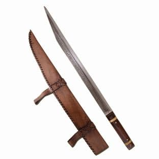 Seax of Beagnoth 9th Century with Leather Sheath,Length 73.5cm, Blade Length 55.5cm, Weight 650g