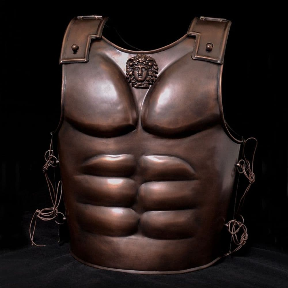 Spartan Short Muscle Cuirass, Steel with  Bronze Finish