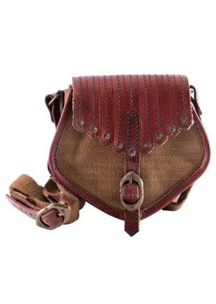 Viking Inspired Leather and Canvas Bag