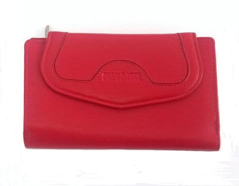397-R Cartera de piel con billetera y monedero con doble cremallera color Rojo 15,5x10cm