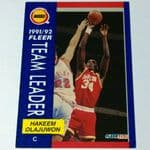 1991-92 Fleer #381 Hakeem Olajuwon Houston Rockets Basketball Card @sold@