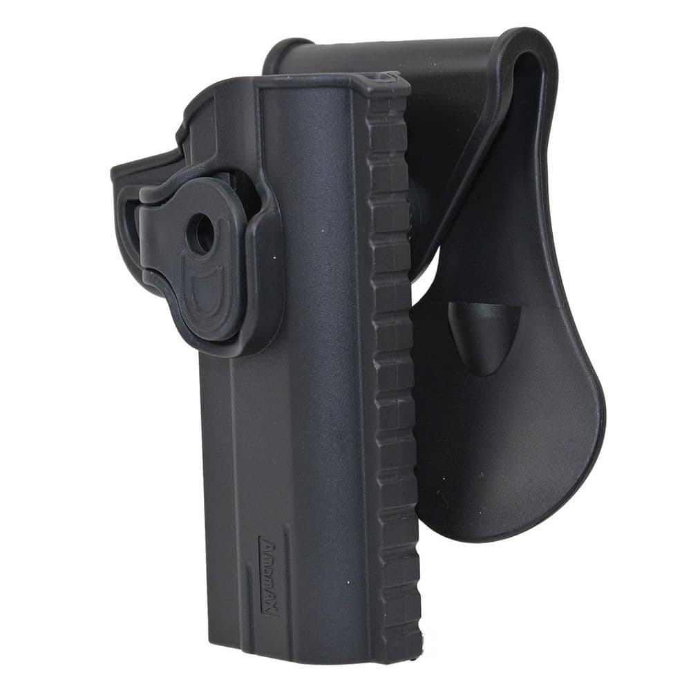 Amomax Retention Holster 1911 4 R/H Black Airsoft Poly Belt Clip #AM-1911-4