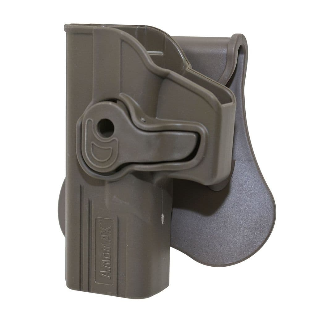 Amomax Retention Left Handed Holster G-Series 17/22/31 FDE Airsoft #AM-GAGLF