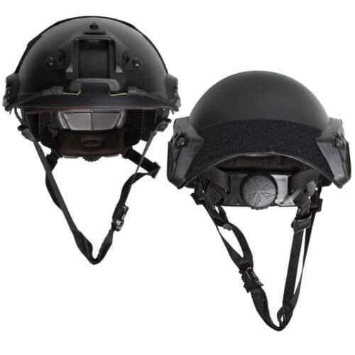 ASG Strike Systems Military Style Fast Helmet Black Adjustable with Rail Set