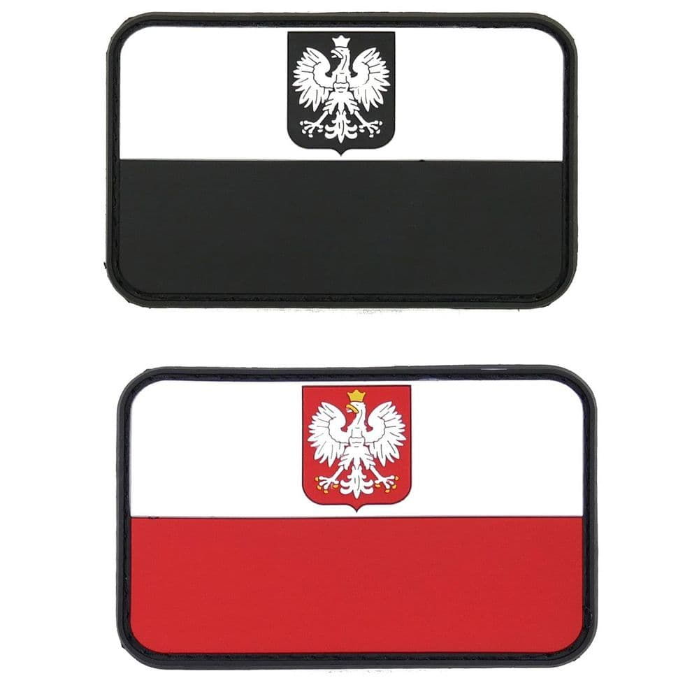 JTG Rubber Flash Poland Polish Flag Patch Velcro Backed 80 x 50 mm Airsoft