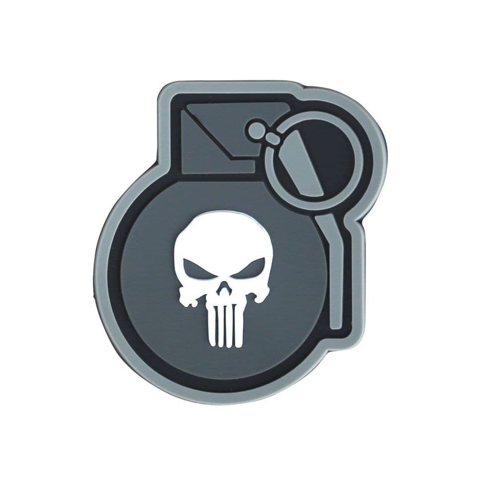 Kombat Punisher Grenade Airsoft Moral Patch Hook & Loop