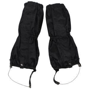MFH Black Waterproof Trouser Gaiters with Wire Rope