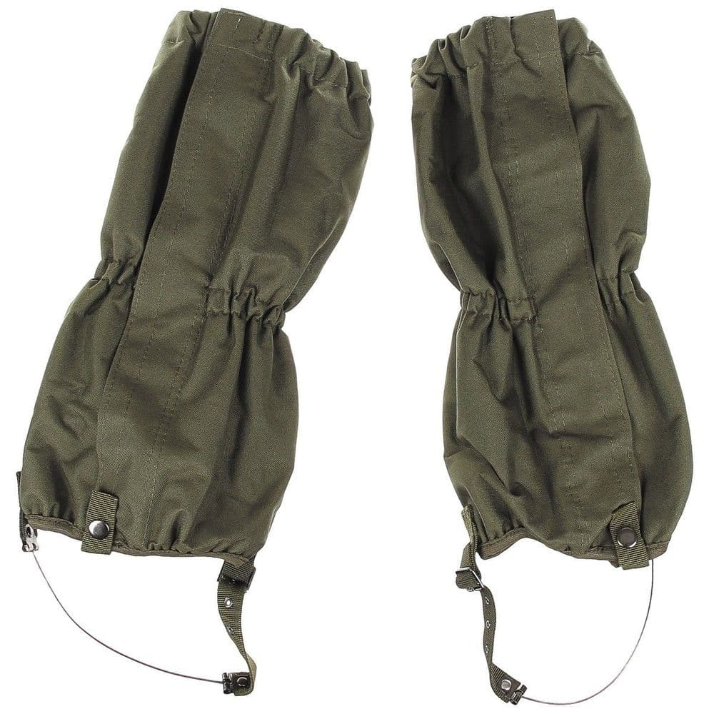 MFH Green Waterproof Trouser Gaiters with Wire Rope