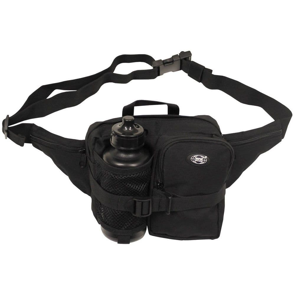 Mfh Waist Bag with Water Bottle Black Fanny Pack
