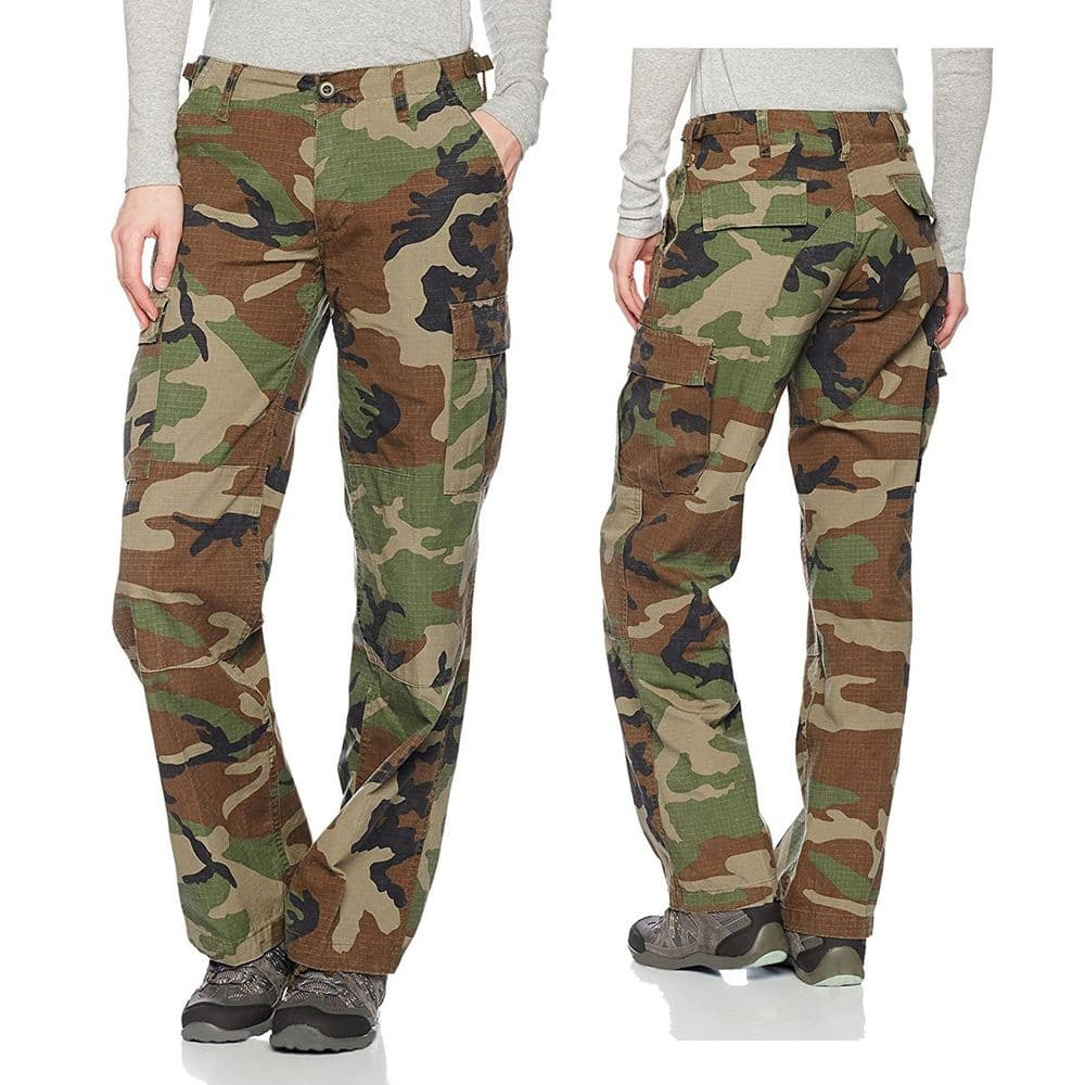 Mil-Tec Ladies Cut Pre-Wash Cargo Trousers Woodland Camo