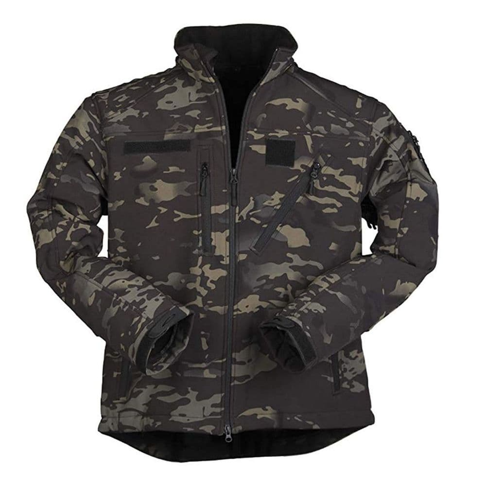 Mil-Tec Softshell SCU 14 Army Style Jacket Multitarn ATP Black Camo Airsoft 4069