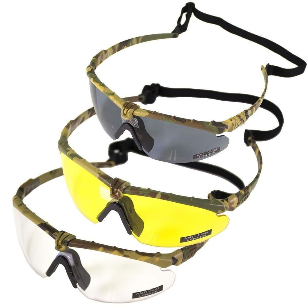 Nuprol Airsoft Battle Pro Safety Glasses Eye Protection Camo Frame Colours