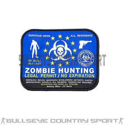 PVC RUBBER ZOMBIE HUNTER PATCH BLUE BLACK