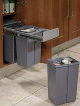 PULL-OUT WASTE BIN (Base Mounted 30 litre capacity) for minimum 300mm wide cabinet (ECF BIN31)