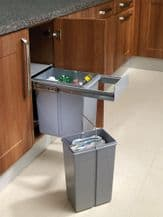 PULL-OUT WASTE BIN (Base Mounted 30 litre capacity) for minimum 300mm wide cabinet (ECF BIN36)
