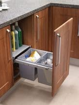 PULL-OUT WASTE BIN (Base Mounted 30 litre capacity) for minimum 450mm wide cabinet (ECF BIN38)