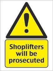 """""""Shoplifters Will Be Prosecuted"""" WARNING STICKER DECAL SIGN A5 SHOP OFFICE"""