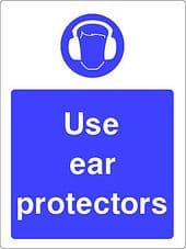 """""""Use Ear Protectors"""" WARNING STICKER DECAL SIGN A5 (145mm x 195mm) Workshop"""