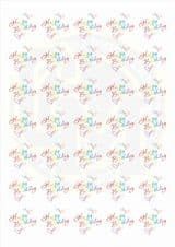 37mm Round Paper Stickers Happy Birthday Bright Fun Colourful