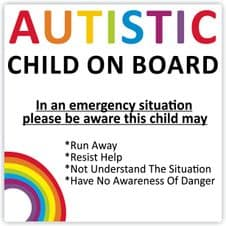 Autistic Child On Board Warning Safety Car Sticker