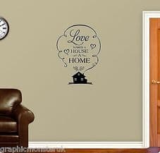Beautiful Home Themed Vinyl Wall Decal Stickers Classic Family Love House