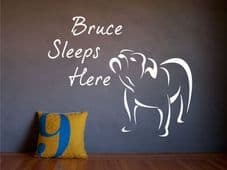 Bulldog Wall Art 'YOUR NAME' Sleeps Here - Add Your Bulldogs Name