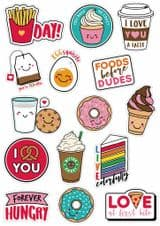 Fun Kawaii Style Food Themed Vinyl Sticker Pack