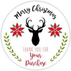 Merry Christmas Thank You - Stag Stickers For Packaging  37mm Matt Round