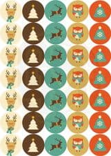 Mixed Sheets Fabulous Modern Cute Christmas Stickers Party, Sweet Bags 37mm Matt